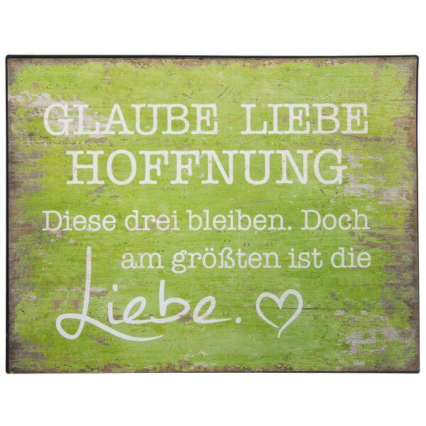 Metall-Schild Glaube Liebe Hoffnung gruen