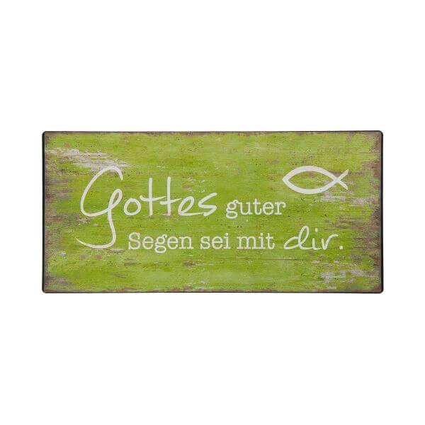 Metall-Schild Gottes Guter Segen grün