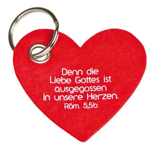 Schlüsselanhänger Filzherz rot