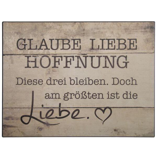 Metall-Schild Glaube Liebe Hoffnung braun